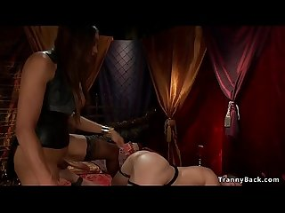 Tranny domme ravages naked male slave