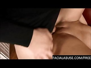 Extreme throat fucking & anal for hot Brunette