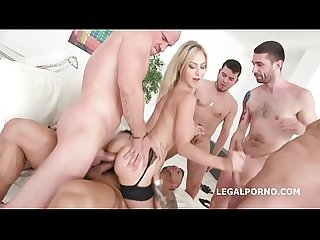 Natalie Cherry Gaped with 5on1 DAP and Balls Deep Anal
