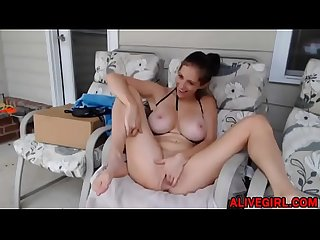 Slender young coed ElaySmith with huge tits masturbates a tight pussy