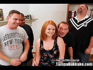 Big tittied ginger Cherry gangbanged and covered in bukkake
