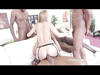 Interracial XXX DAP action leaves slut Emily Thorn's asshole destroyed by 3